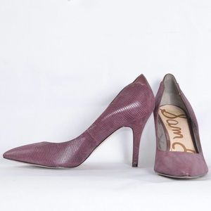 Sam Edelman Purple Leather Lizard Stiletto Pump